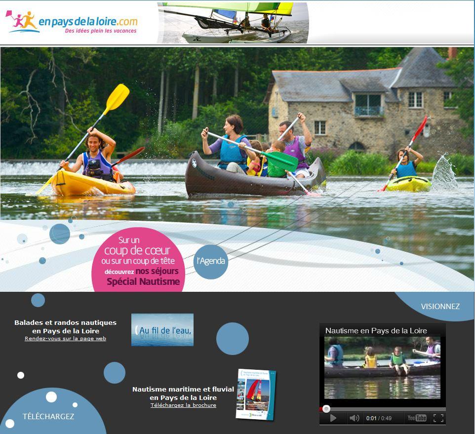 page d'accueil du site tourisme en Pays de la Loire