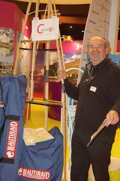 Christian sur le stand de la Région Pays de la Loire présente Canotika