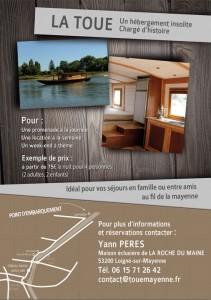 toue cabanée sur la Mayenne