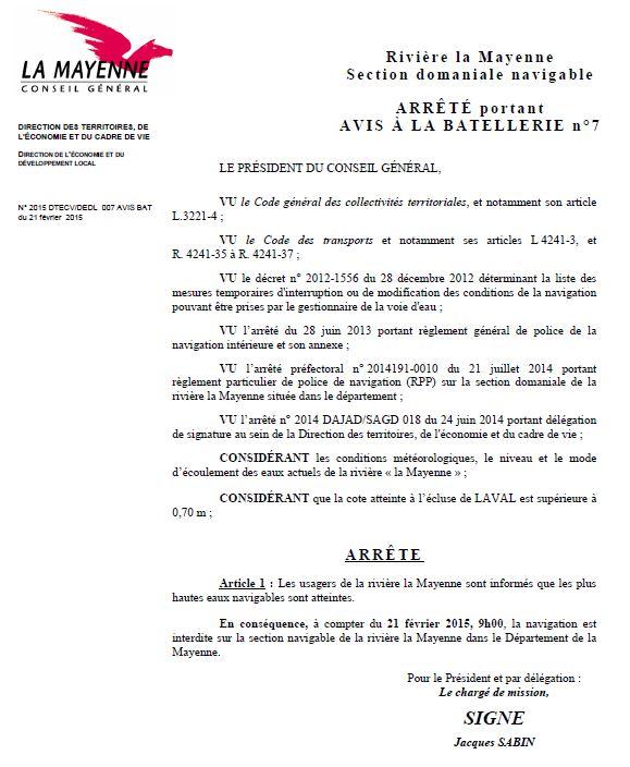 arrêté d'interdiction de navigation 21 février 2015