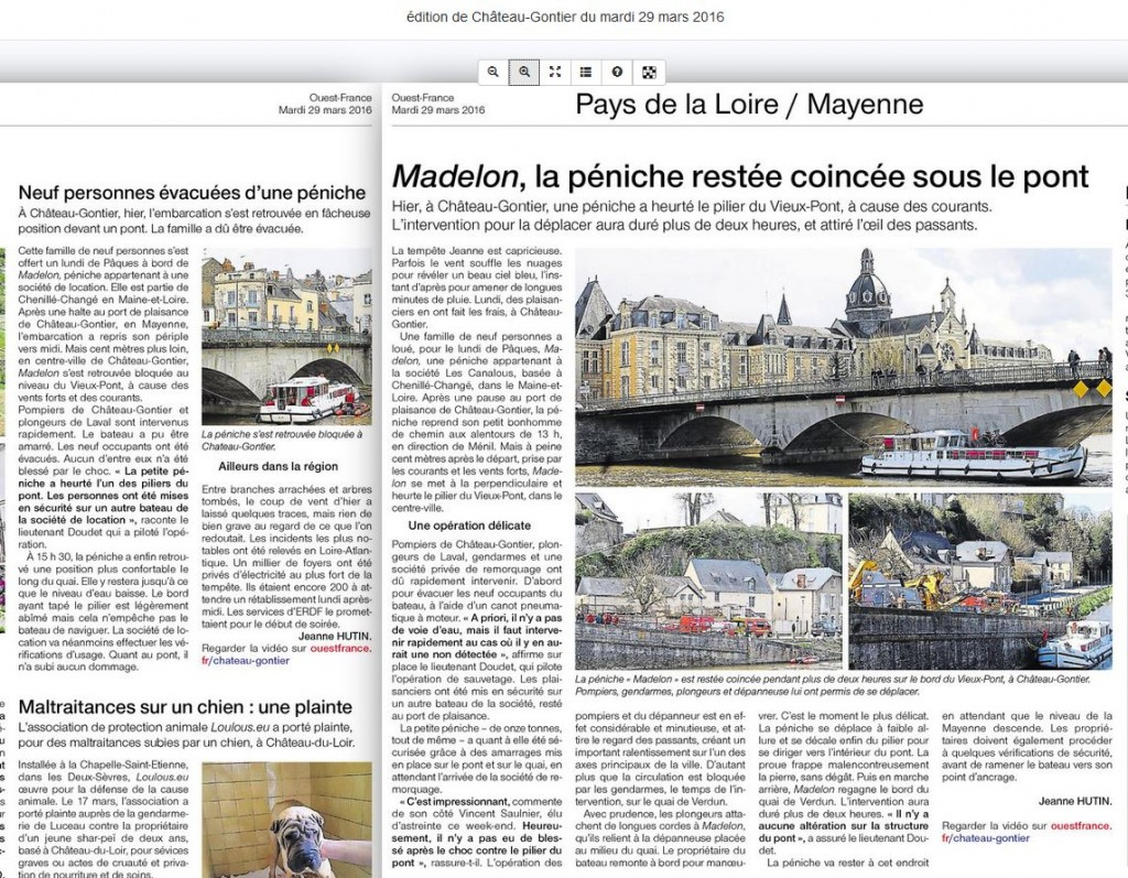 accident de la Madelon article du Journal Ouest-France