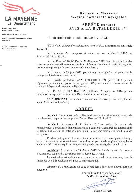 Avis de travaux écluses Avesnières Laval