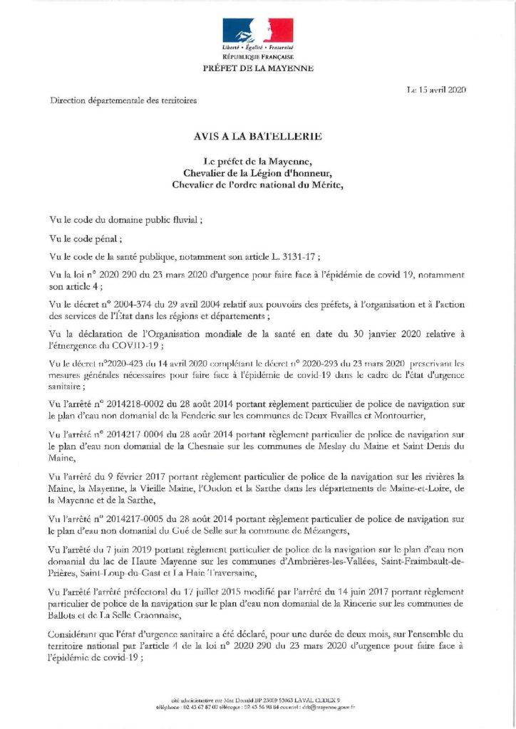 Avis batellerie du 15 avril 2020 ivière la MayenneDocument jpg de presentation
